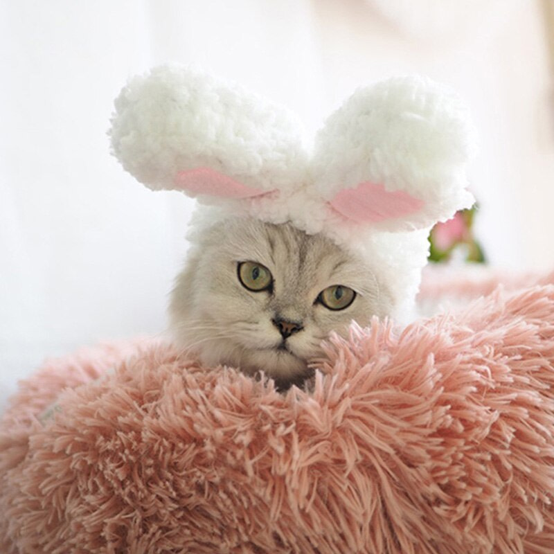 Cute Pet Dog Cat Cap Costume Warm Rabbit Hat New Year Party Christmas Cosplay Accessories Photo Props Headwear