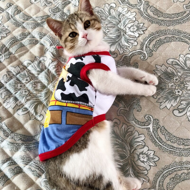 Sweet Pet Cat Vest Shirt Spring Summer Cat Clothes Costume for Cats Kitten Shirts Kedi Clothing Pets Cat Outfit Ropa Para Gatos