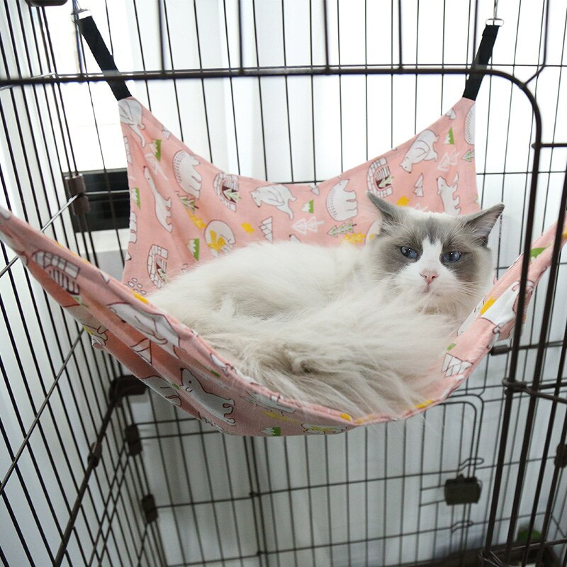 Pet Hammock Cat Warm Cute Hanging Beds Cat Hanging Bed Cotton Mount Hammock For Cats Rodents Hammocks For Hamster Pets Supplies