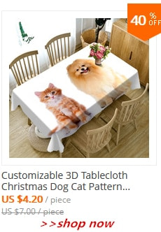 Cute Kittens in the Bamboo Basket Thicken Cotton Tablecloth 3d Dog and Cat Washable Cloth Rectangular and Round Table Cloth